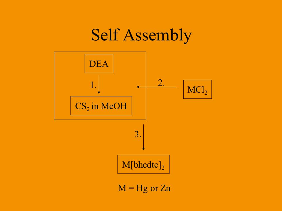 Self Assembly DEA 2. 1. MCl2 CS2 in MeOH 3. M[bhedtc]2 M = Hg or Zn